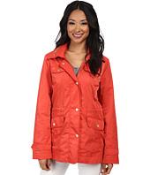 Ellen Tracy - Snap Front Short Anorak w/ Faux Leather Trim