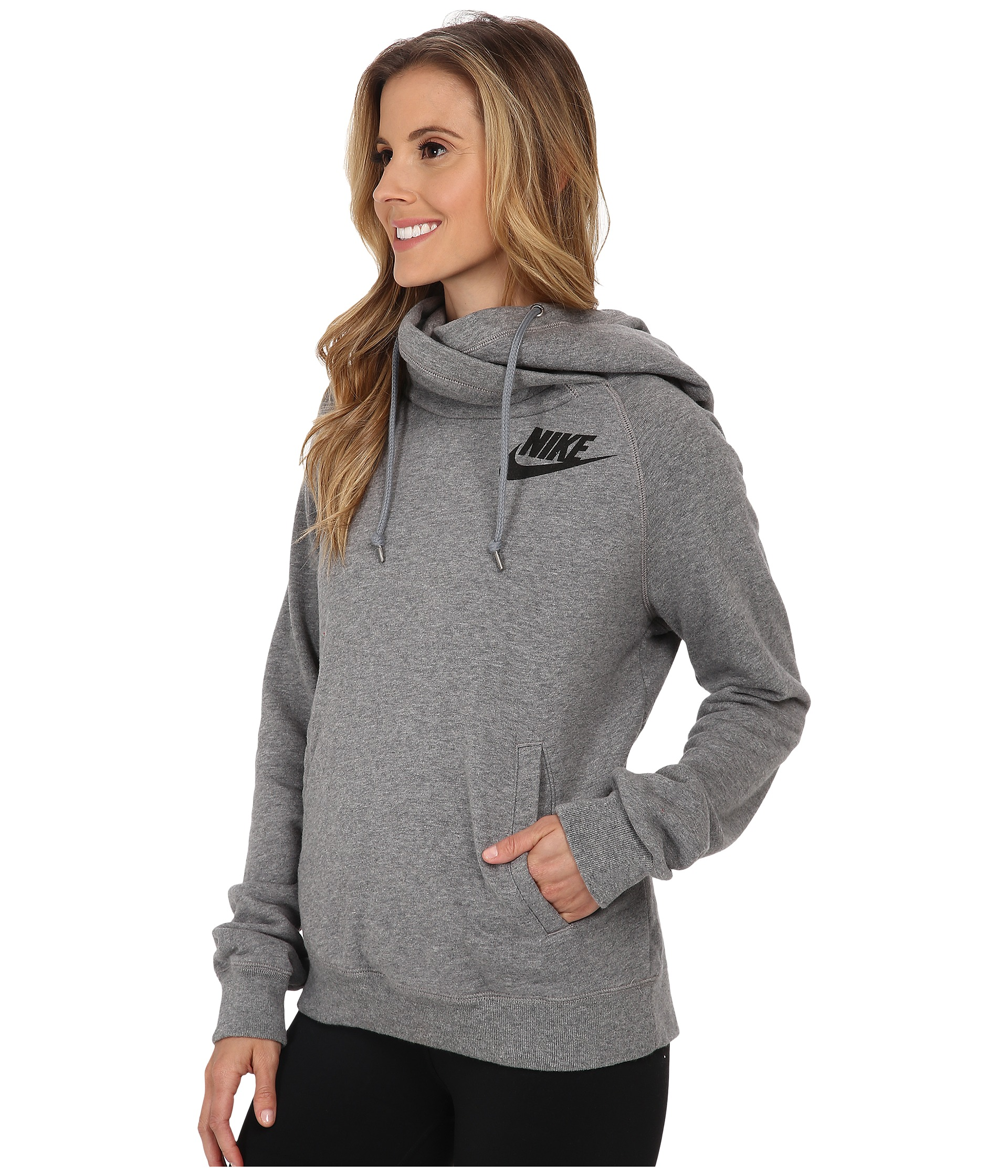 nike rally funnel neck hoodie carbon heather cool grey. Black Bedroom Furniture Sets. Home Design Ideas