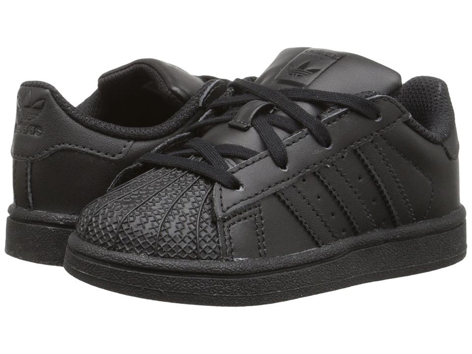 adidas Originals Kids Superstar (Infant/Toddler) (Black/Black/Black) Kids Shoes