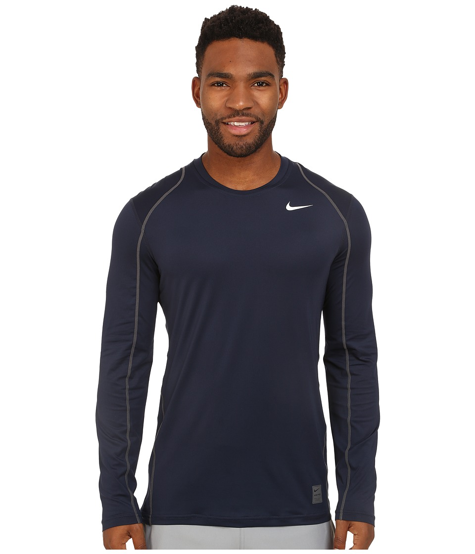 Nike Pro Cool Fitted L/S (Obsidian/Dark Grey/White) Men