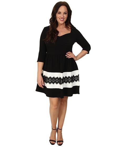 Gabriella Rocha Plus Size Carina Dress w/ Lace (Black/White) Women's Dress