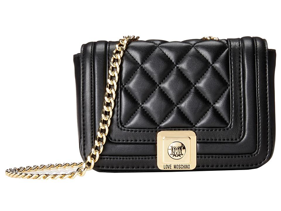 LOVE Moschino - Mini Quilted Flap Crossbody Purse (Black) Cross Body Handbags
