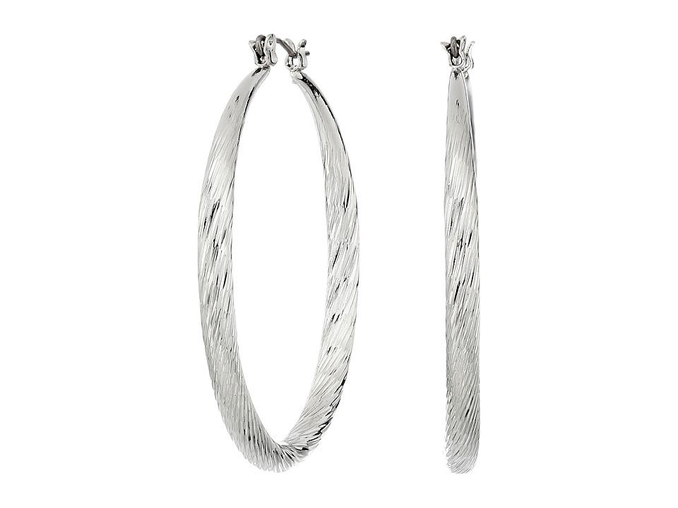 GUESS - Twist Hoop Earrings (Silver) Earring