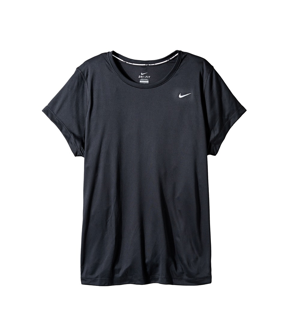 Nike Miler Short-Sleeve Running Top (Size 1X-3X) (Black/Reflective Silver) Women