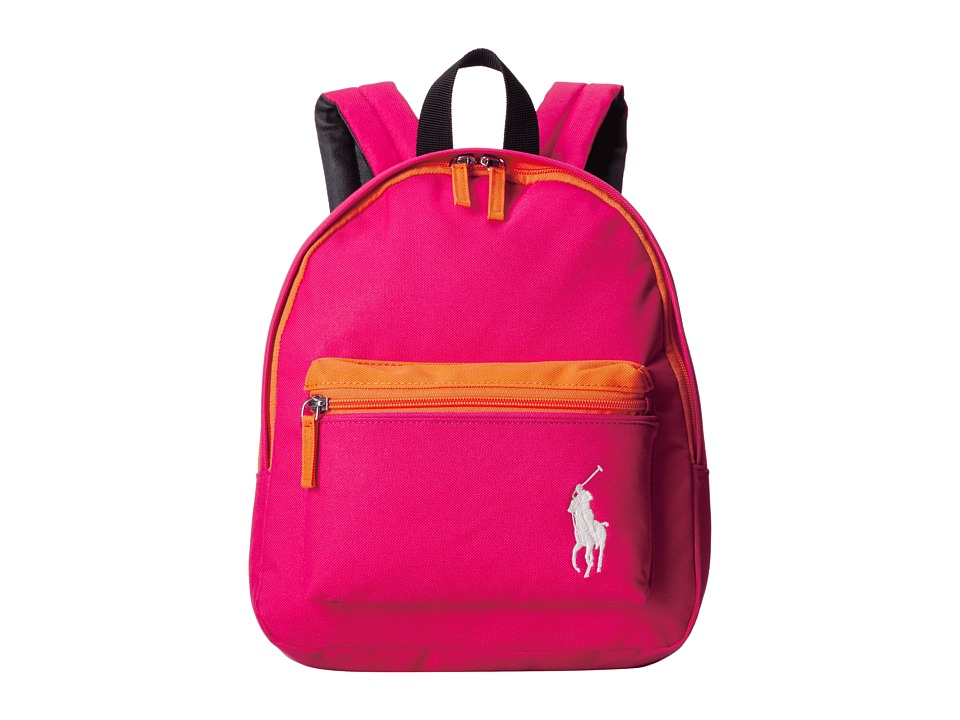 Polo Ralph Lauren Kids Camp Small Backpack Ultra Pink Nylon/Orange Colorblock Backpack Bags