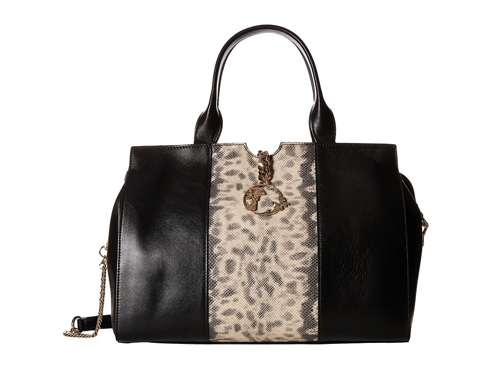 Versace Collection - Animal Print Inset Satchel (Black) Satchel Handbags