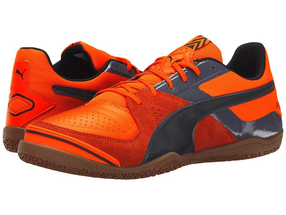 PUMA - Invicto Sala (Orange Clown Fish/Black/Periscope) Mens Soccer Shoes