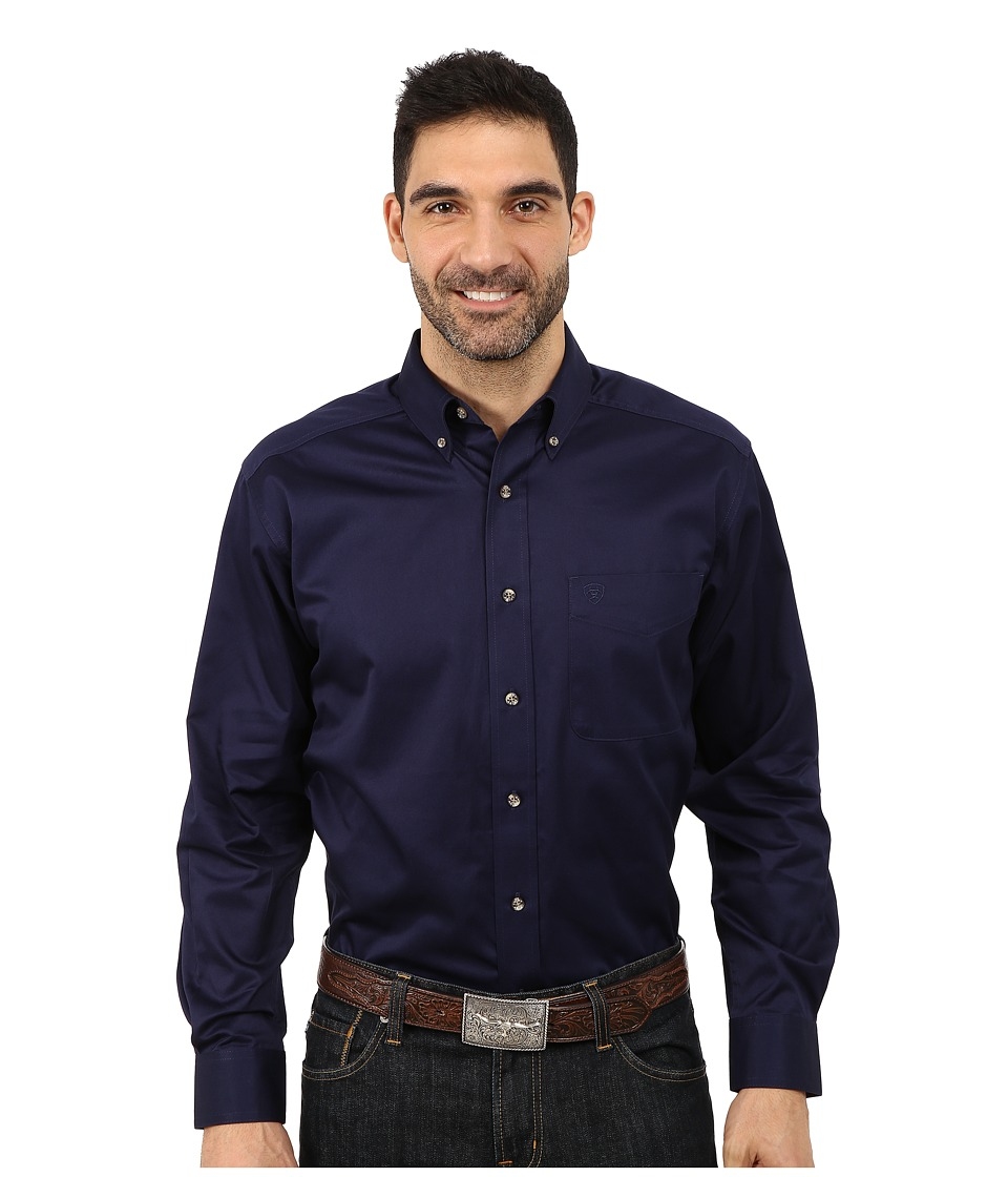 Ariat Solid Twill Shirt Peacoat Mens Long Sleeve Button Up