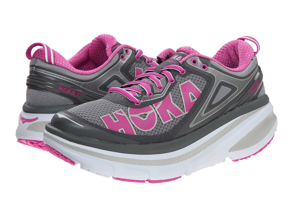 Hoka One One Bondi 4 Grey/Fuchsia Womens Running Shoes
