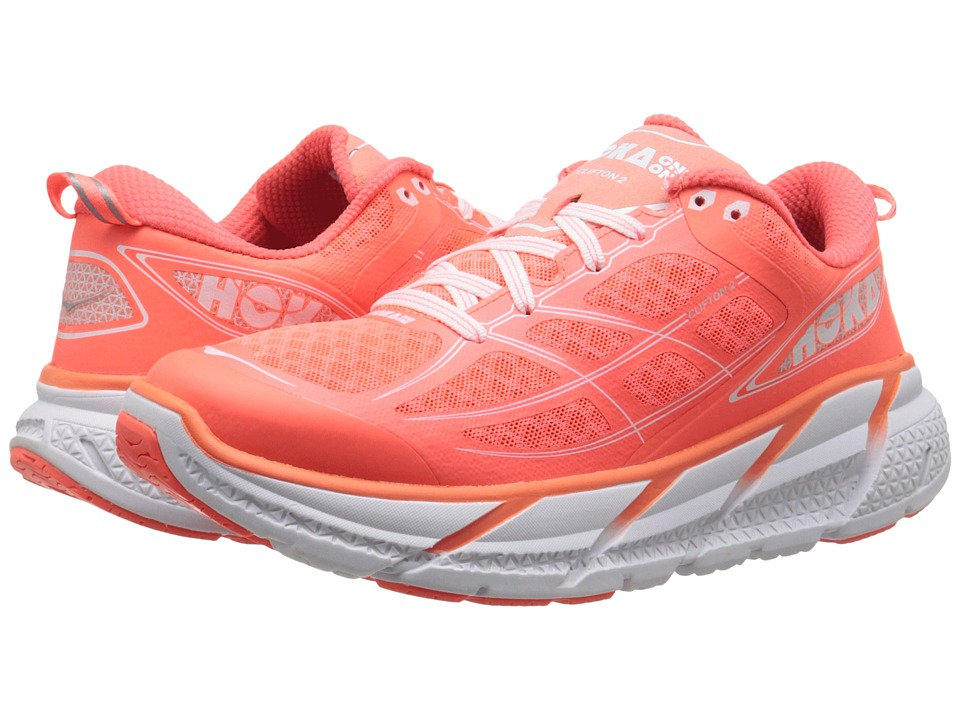 Hoka One One Clifton 2 Neon Coral/White Womens Running Shoes
