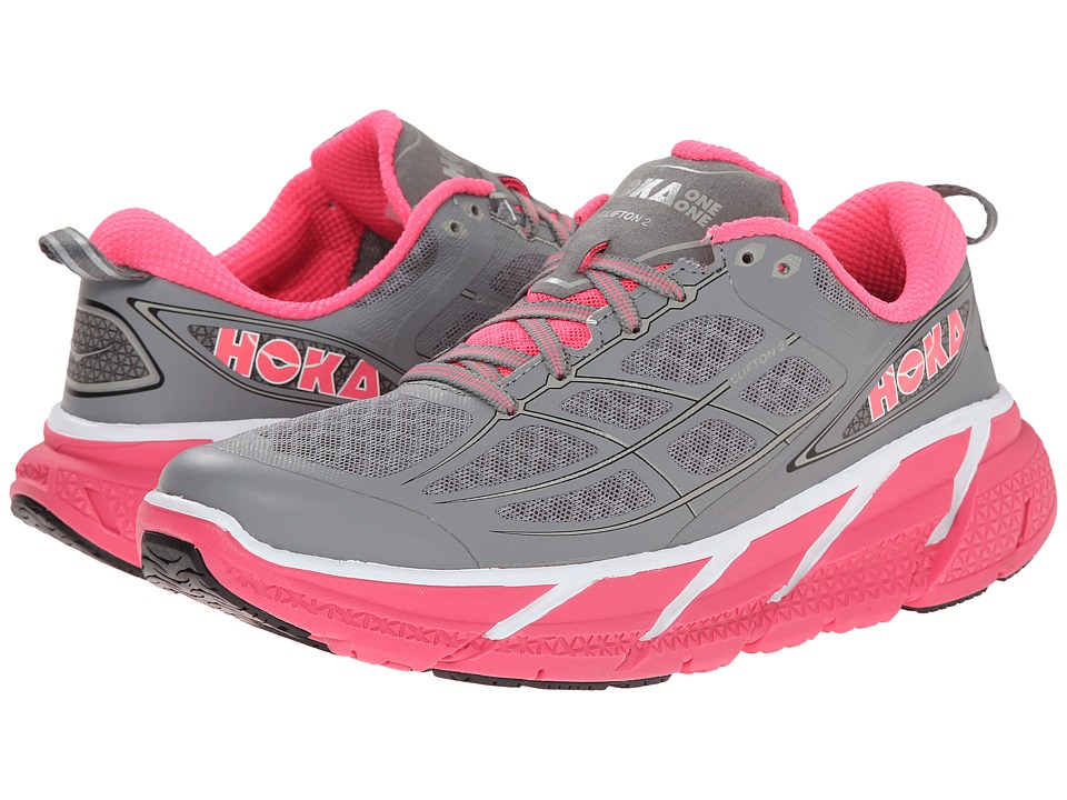 Hoka One One Clifton 2 Grey/Neon Pink Womens Running Shoes