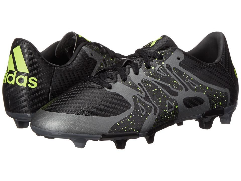 adidas Kids - X 15.3 FG/AG J Soccer (Little Kid/Big Kid) (Black/Solar Yellow/Night Metallic) Kids Shoes