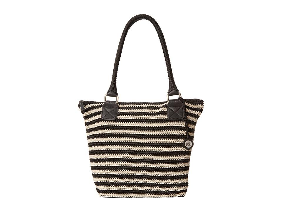 The Sak - Cambria Large Tote (Black/Eggshell Stripe) Shoulder Handbags