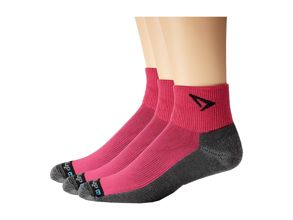 Drymax Sport - Lite Trail Running 1/4 Crew Turn Down 3-Pair Pack (Oct Pink/Gray) Crew Cut Socks Shoes