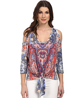Karen Kane - Watercolor Paisley Cold Shoulder Top
