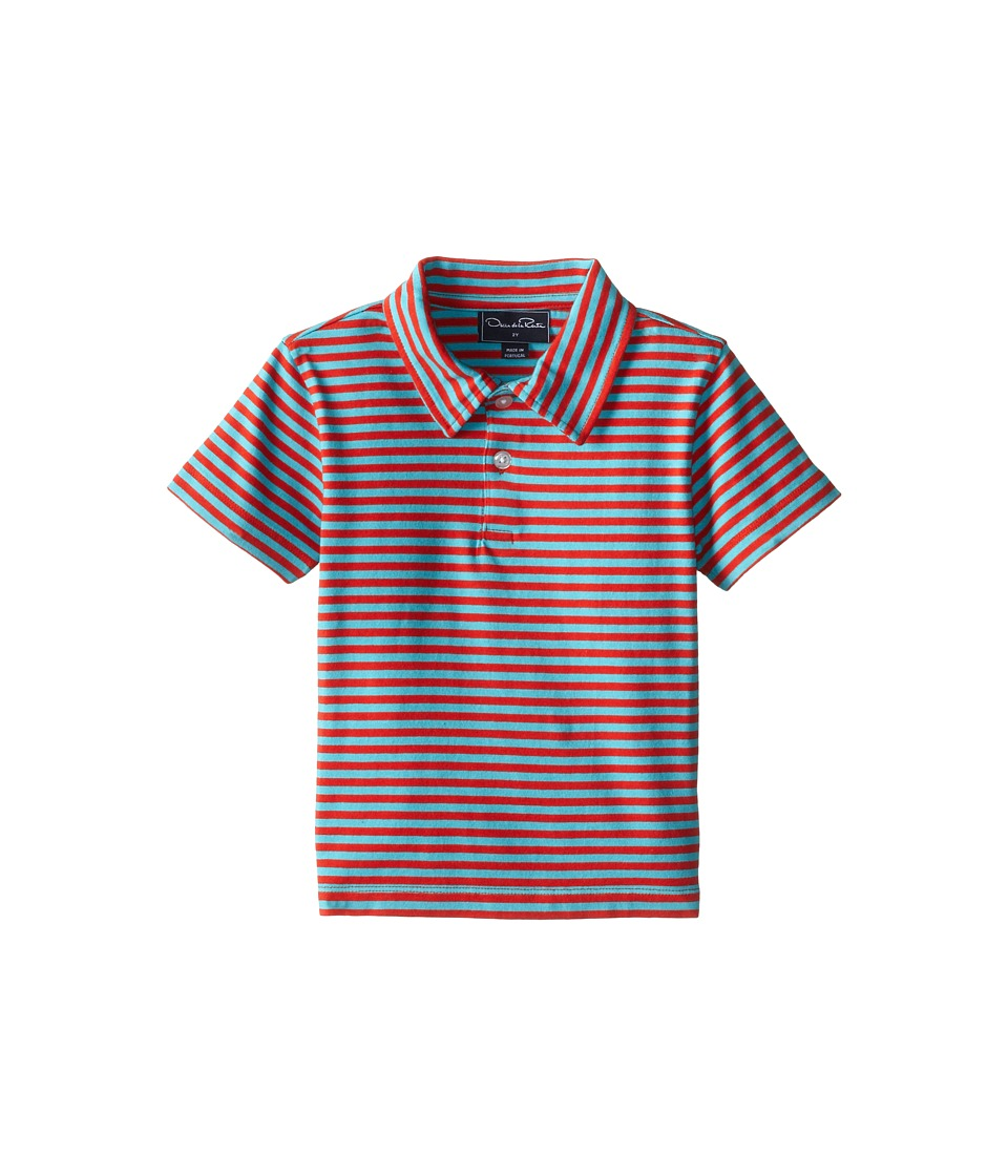 Oscar de la Renta Childrenswear Double Stripe Pique Polo Toddler/Little Kids/Big Kids Coral/Dolphin Boys Short Sleeve Pullover