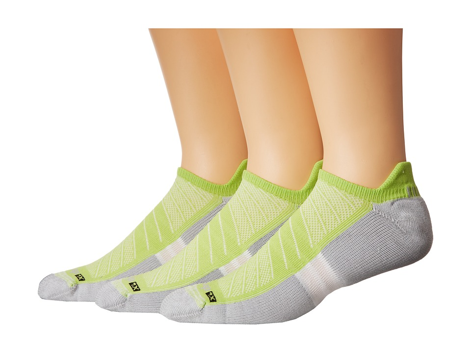 Drymax Sport Max Cushion Run Packaged No Show Tab 3 Pair Pack Lime Green No Show Socks Shoes
