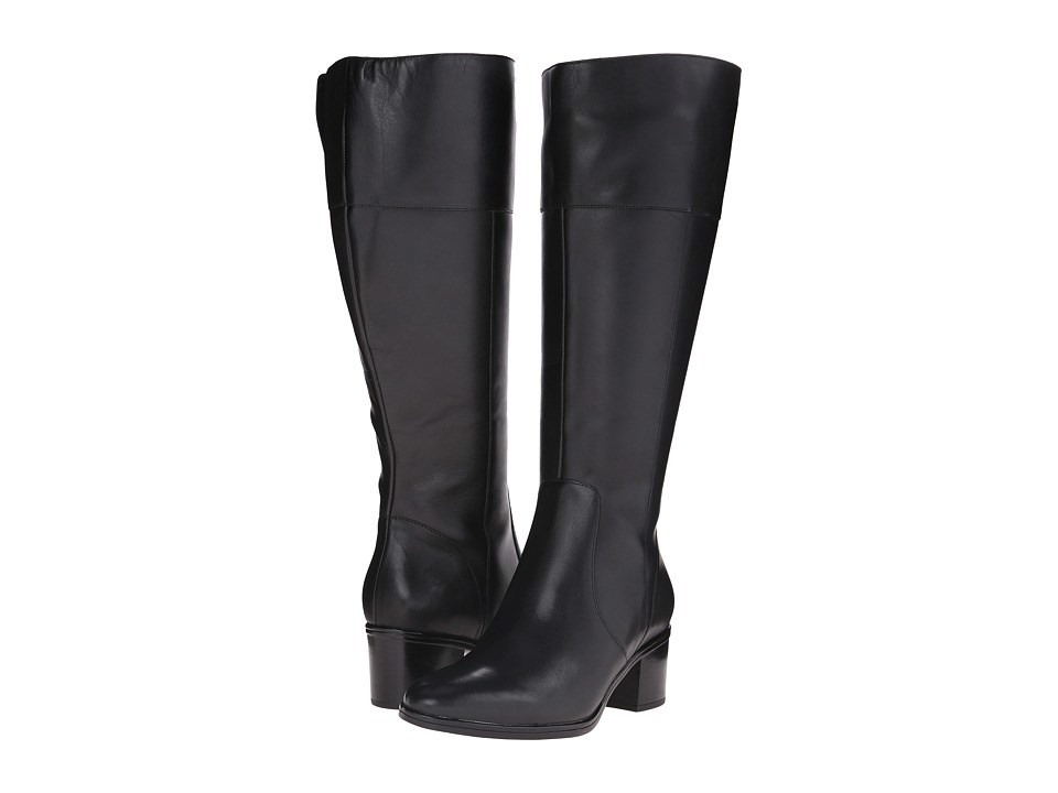 Naturalizer - Harbor Wide Calf (Black Leather) Women's Wide Shaft Boots