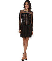 BCBGMAXAZRIA - Stef Lace Blocked Long Sleeve Dress