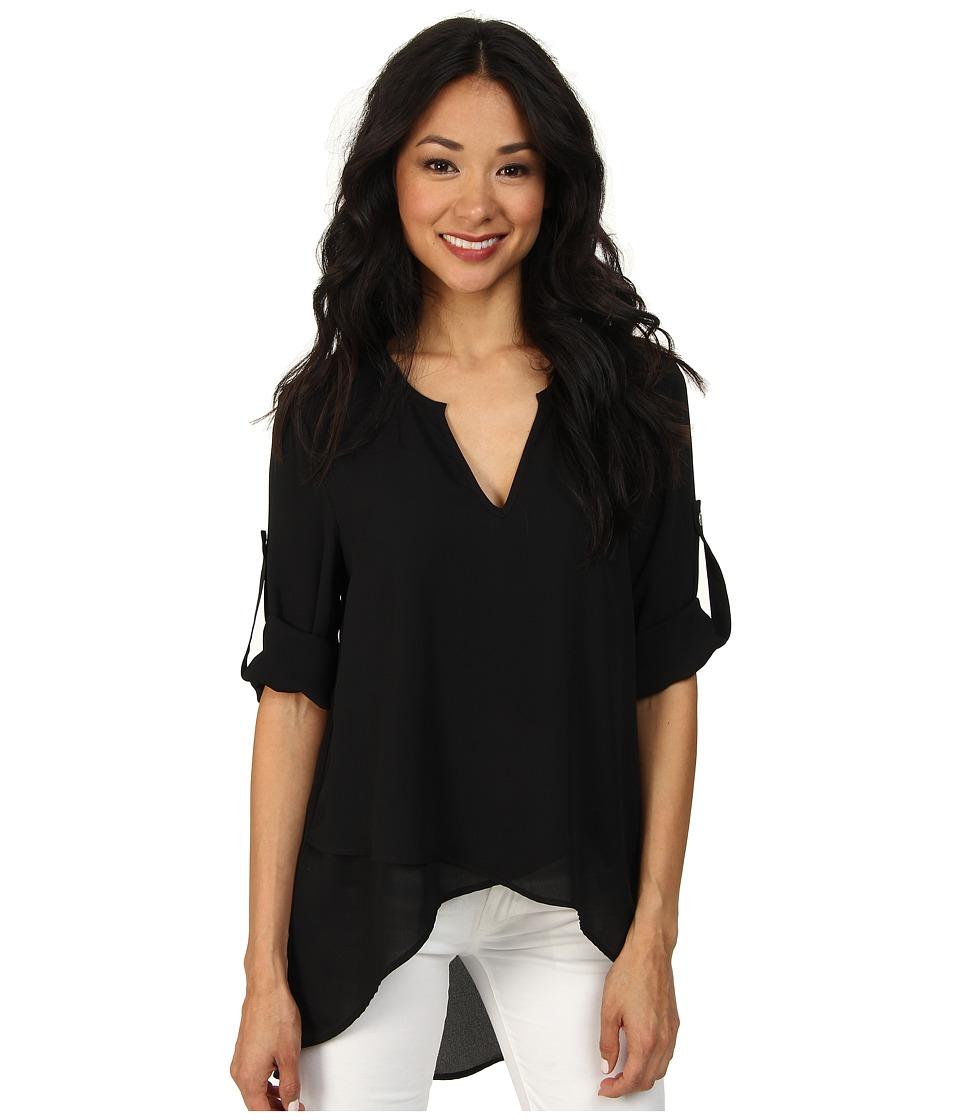 Karen Kane Asymmetrical Hem Wrap Top (Black1) Women's Blouse