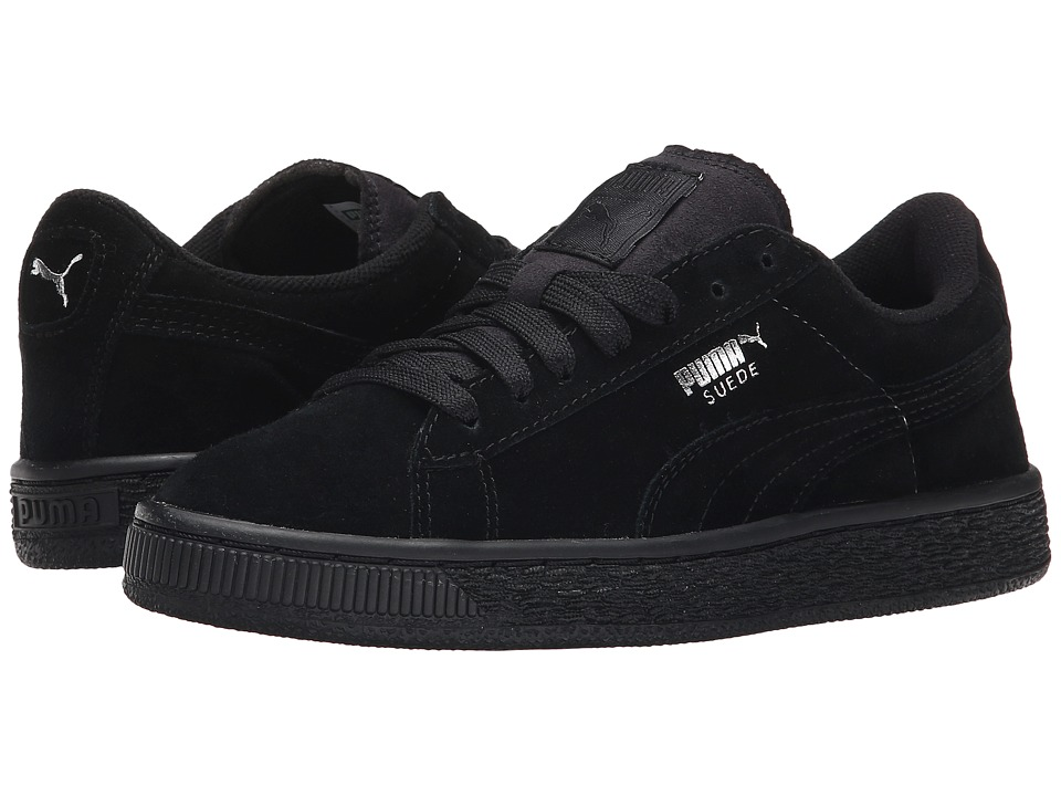 Puma Kids Suede Jr (Little Kid/Big Kid) (Black/Puma Silver) Kids Shoes