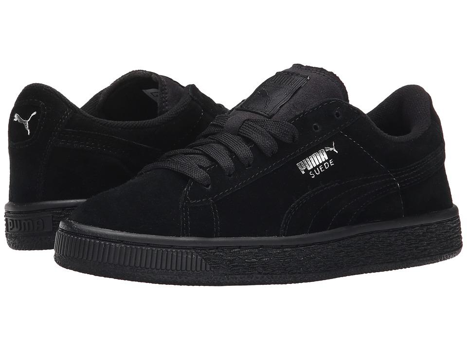 Puma Kids - Suede Jr (Little Kid/Big Kid) (Black/Puma Silver) Kids Shoes
