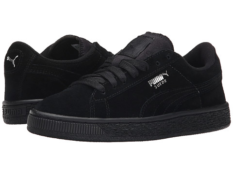 Puma Kids Suede Jr (Little Kid/Big Kid) - Black/Puma Silver