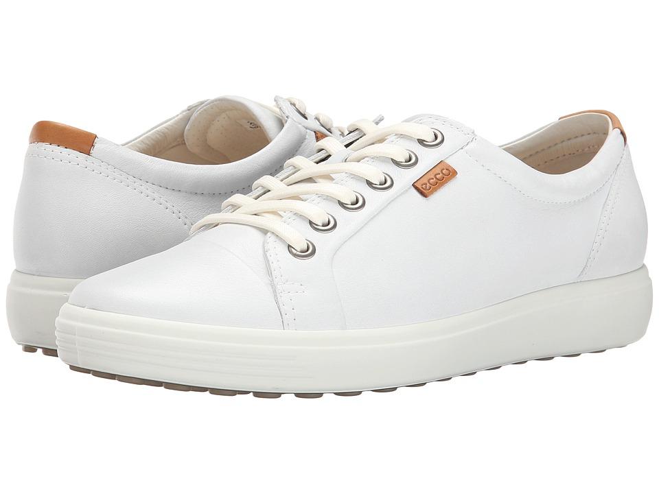 Ecco Soft VII Sneaker (White/White) Women's Lace up casua...