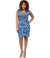 London Times - Plus Size Cap Sleeve Printed Side Ruched Sheath Dress