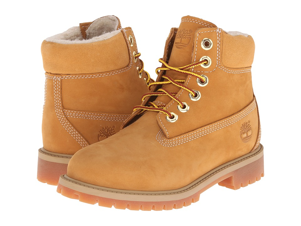 Timberland Kids 6 Premium w/ Faux Shearling Big Kid Wheat Nubuck Kids Shoes