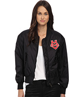 LOVE Moschino - Bomber w/ Logo and Back Rainbow Graphic