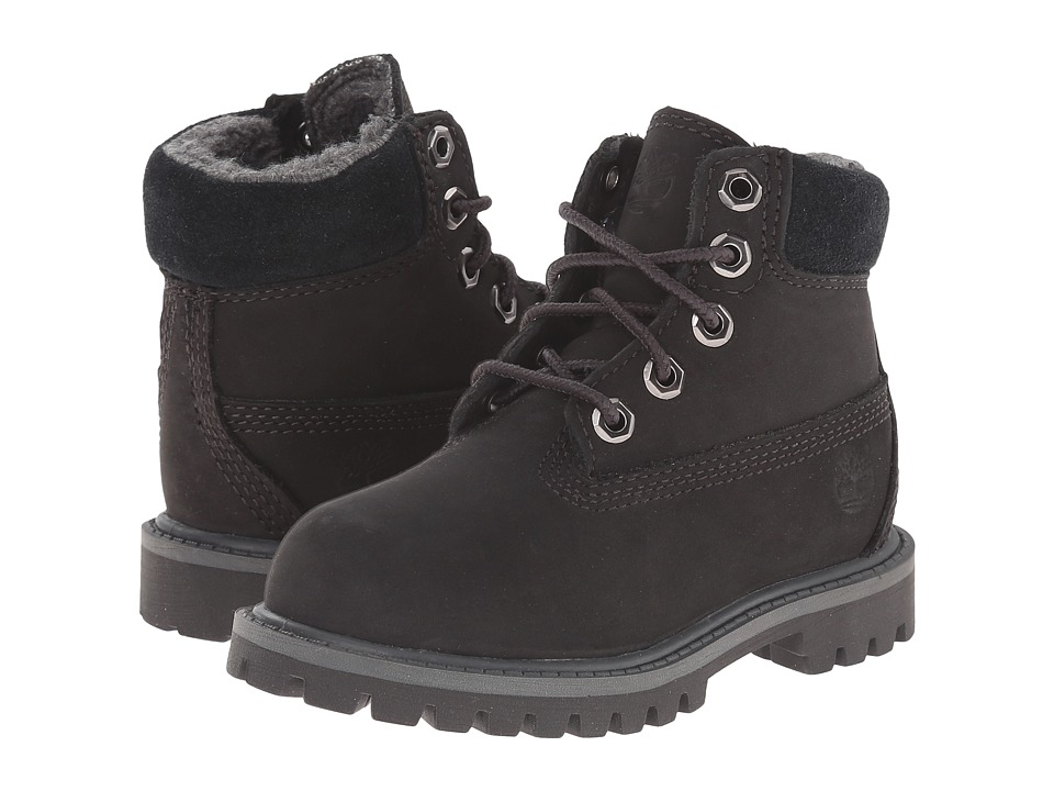 Timberland Kids - 6 Premium w/ Faux Shearling (Toddler/Little Kid) (Black/Grey) Boys Shoes
