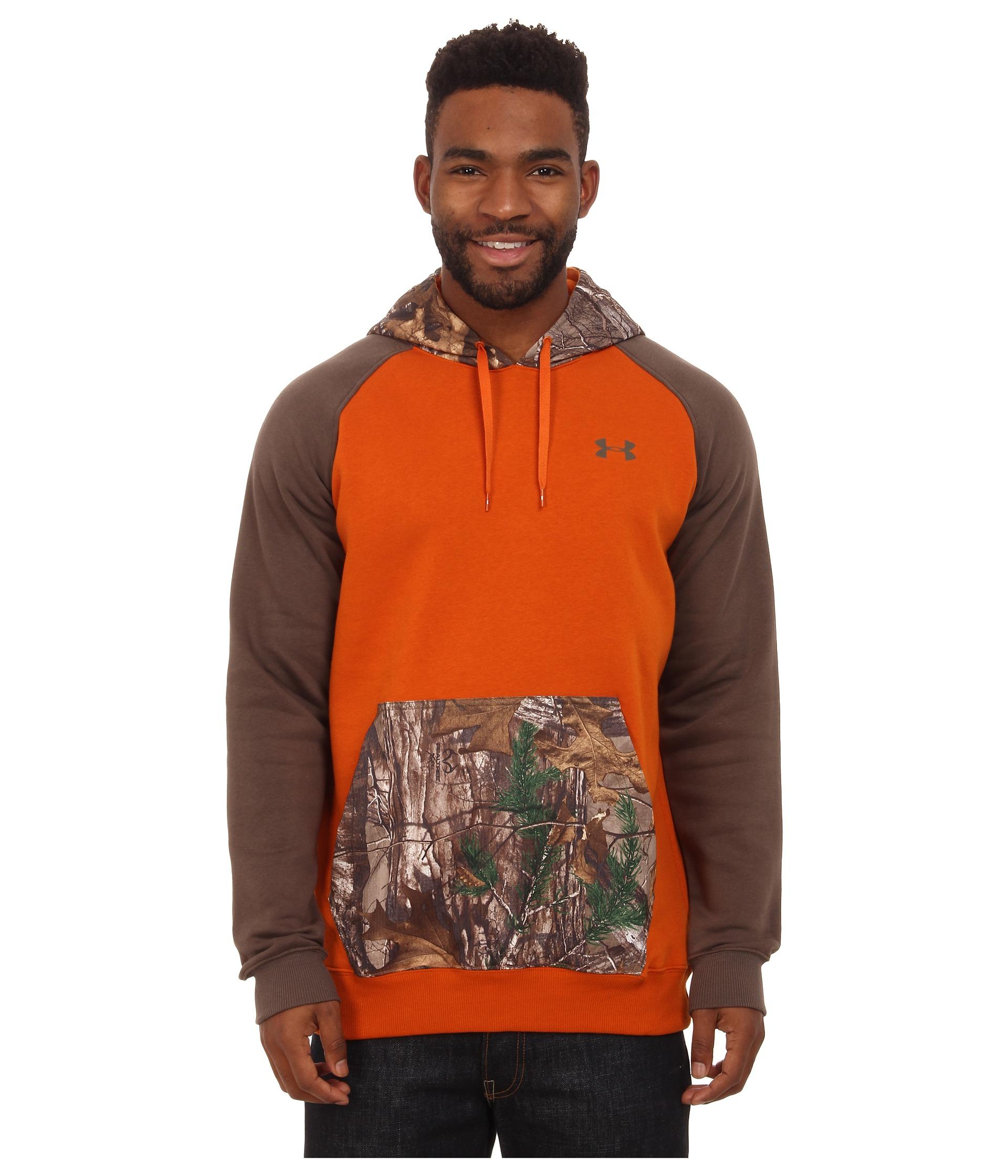 Orange camo under armour hoodie