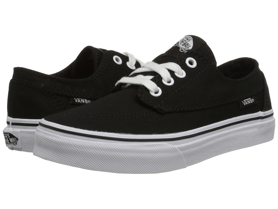 Vans Kids - Brigata (Little Kid/Big Kid) (Black/True White) Boys Shoes