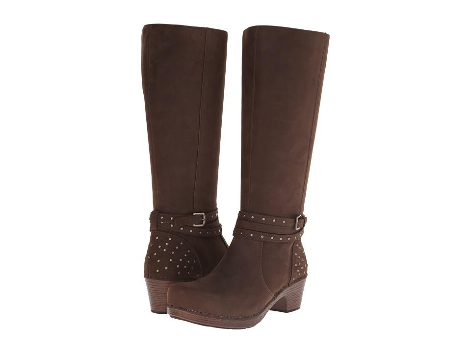 Dansko Myra Brown Milled Nubuck Womens Work Zip Boots