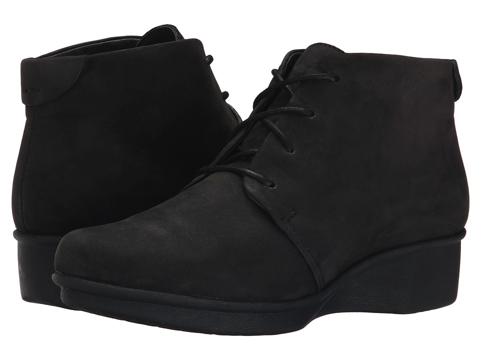 Dansko Lucille Black Nubuck Womens Lace up Boots