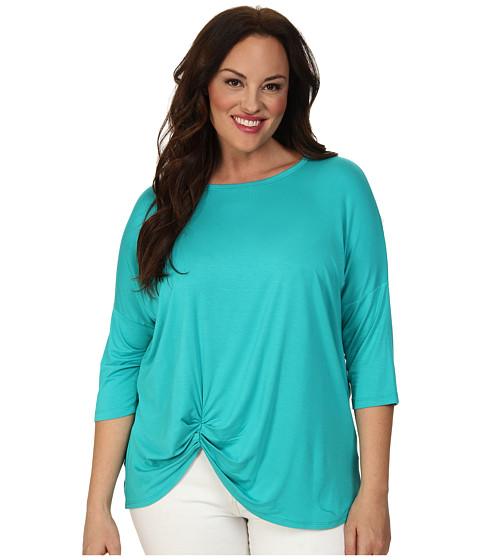Karen Kane Plus Plus Size 3/4 Sleeve Pick Up Top (Turquoise) Women's Short Sleeve Pullover