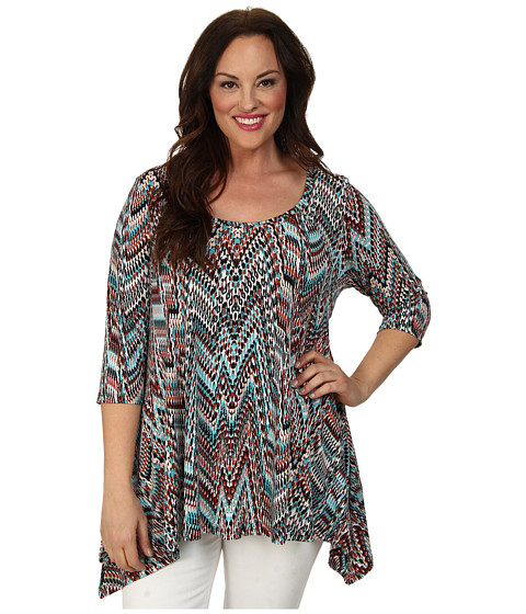 Karen Kane Plus Plus Size 3/4 Sleeve Handkerchief Top (Print) Women's Short Sleeve Pullover