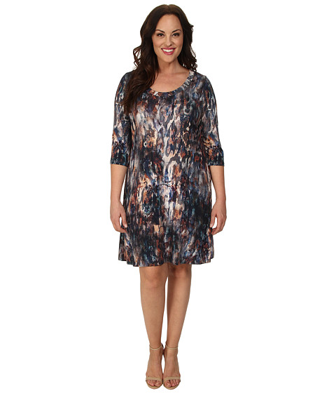 Karen Kane Plus Plus Size 3/4 Sleeve T-Shirt Dress (Print) Women's Dress