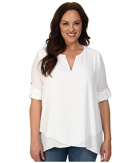 Karen Kane Plus Plus Size Asymmetrical Hem Wrap Top 1L25234W (Off White) Women's Short Sleeve Pullover
