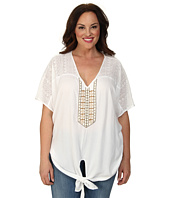 Karen Kane Plus - Plus Size Coronado Beaded Tie Front Top