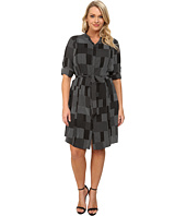 DKNYC - Plus Size Pleated Roll Tab Shirtdress