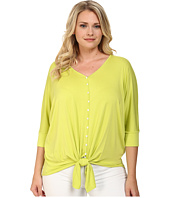 Karen Kane Plus - Plus Size Button Tie Front Dolman Top