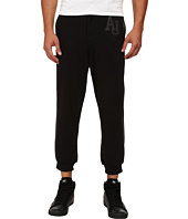 Armani Jeans - Fleece/Cotton Sweatpants w/ Perforated Leather Trim