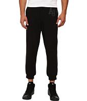 Armani Jeans - Fleece/Cotton Sweatpants w/ Perforated Leather Trim