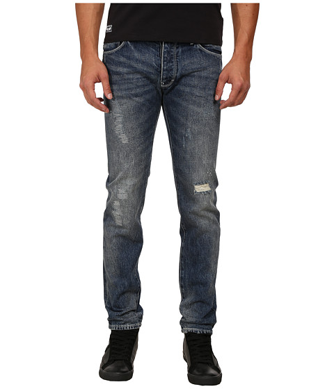 Armani Jeans Slim Fit J28 Blue Wash Denim w/ Rip/Repair Detail