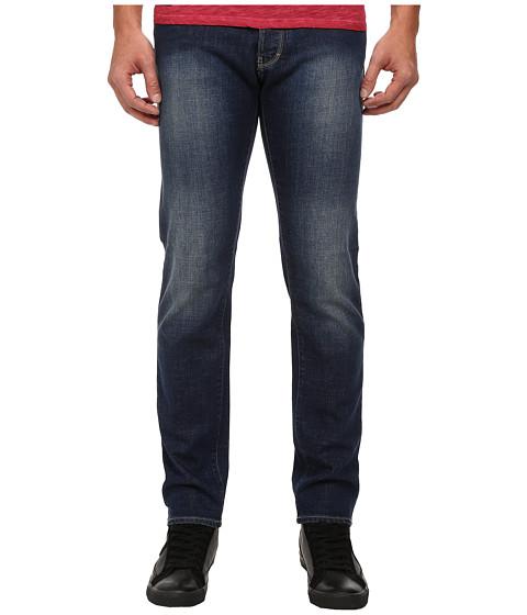 Armani Jeans Slim Fit J28 Blue Wash Denim w/ Abrasion Detail