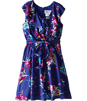 Us Angels - Ruffle Front Ryn Challis w/ Full Skirt Dress (Big Kids)