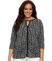Vince Camuto Plus - Plus Size 3/4 Sleeve Linear Scratches Keyhole Top