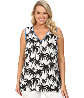 Vince Camuto Plus - Plus Size Sleeveless Palm Harmony V-Neck Blouse